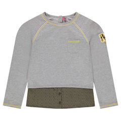 Junior - 2-in-1 effect bi-material sweatshirt