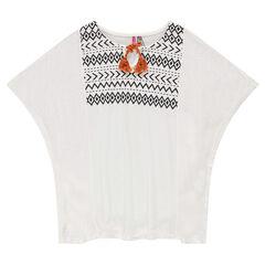 Junior - Kimono tunic with ethnic print and pompom