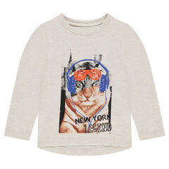 Long-sleeved tee-shirt with printed tiger