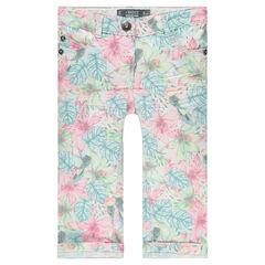 Printed, twill 3/4 pants
