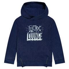 Junior - Hooded fleece sweatshirt with printed message