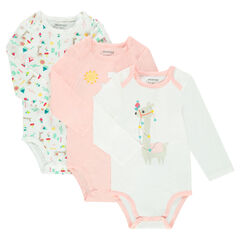 Set of 3 trendy bodysuits with opening adapted according to the age
