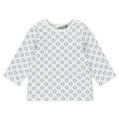 Long-sleeved jersey tee-shirt with allover print