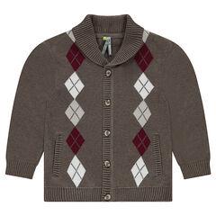 Knit cardigan with jacquard motif
