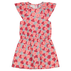 Crepe dress with printed flowers