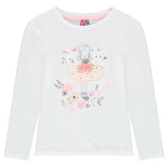 Long-sleeved jersey tee-shirt with printed doll