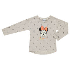 Fleece sweatshirt with printed bows and Disney Minnie Mouse print