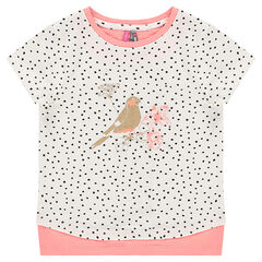 Short-sleeved, 2-in-1 effect tee-shirt with polka dots and golden print