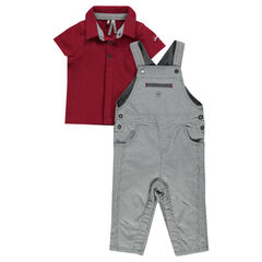 Ensemble with short-sleeved polo shirt and long striped overalls
