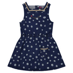 Fleece dress with polka dots and elastic waistband