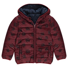 Thin, reversible, quilted down jacket with printed tiger heads