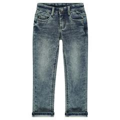 Worn jeans-effect fleece pants