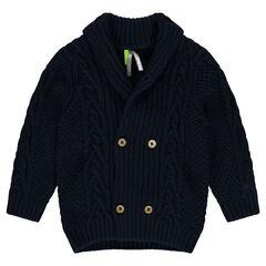 Knit cardigan with shawl collar