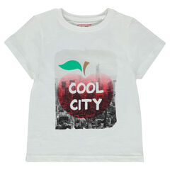Short-sleeved, jersey tee-shirt with decorative print