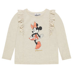 Long-sleeved frilled tee-shirt in thin fleece with Disney Minnie Mouse print