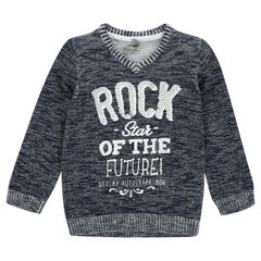 Junior - Slub knit sweater with a printed message