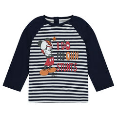 Striped jersey tee-shirt with Disney Mickey Mouse print