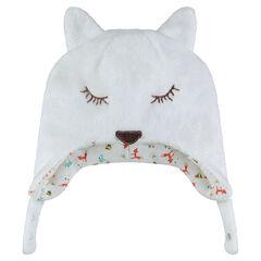 Fox-shaped sherpa cap