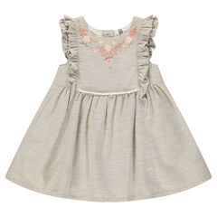 Cotton dress with frills and embroidery