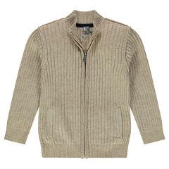 Slub knit ribbed cardigan