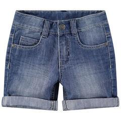 Worn and crinkled-effect denim bermuda shorts