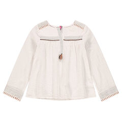 Junior - Loose embroidered tunic in crepon with pompom