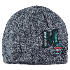 Mixed knit cap with letter and badge patches