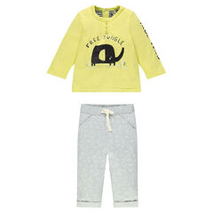 Ensemble with tee-shirt featuring an elephant print and fleece pants with an allover print