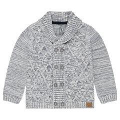 Mixed knit cardigan with shawl collar