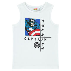 Ribbed tank top with Marvel Captain America print