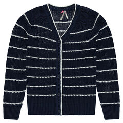 Junior - Striped knit cardigan with lace
