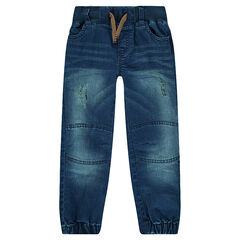 Used-effect jeans with elastic ankles