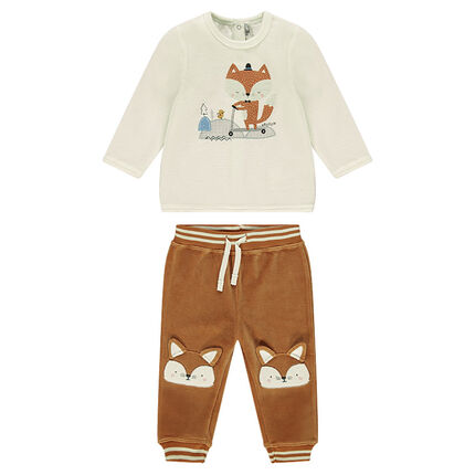 Ensemble with fleece sweatshirt and velvet pants with fox print