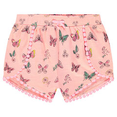 Trendy printed shorts with crochet trim