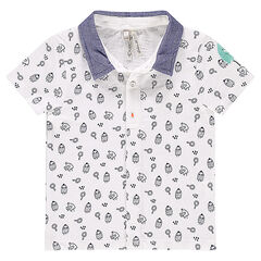Short-sleeved polo shirt with contrasting collar and allover monster motif