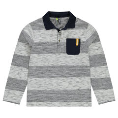 Junior - Long-sleeved striped-effect polo shirt with pocket