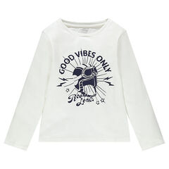 Junior - Long-sleeved jersey tee-shirt with printed message