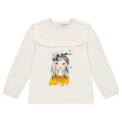 Tee-shirt with face print and frilled yoke