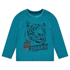 Long-sleeved cold dye-effect tee-shirt with printed tiger