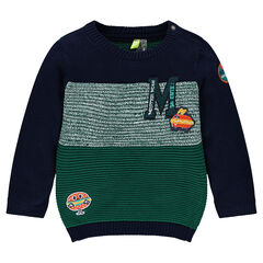 Knit sweater with sandwich patches and terry loop knit letter