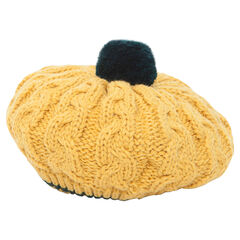 Knit beret with pompom