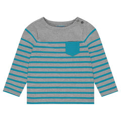 Jersey striped shirt with contrasting patch pocket