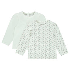 Set of 2 long-sleeved plain/printed tee-shirts