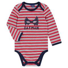 Long-sleeved striped bodysuit with BATMAN print