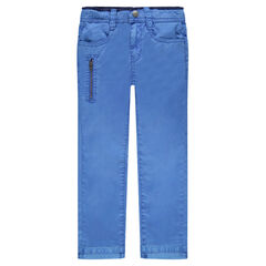Plain-colored twill chino pants with pockets