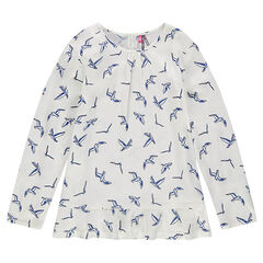 Junior - Voile tunic with printed bird