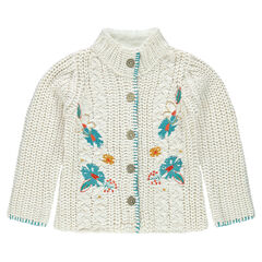 Embroidered chunky knit cardigan