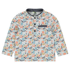 Long-sleeved polo shirt in printed cotton pique with chambray hints