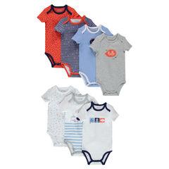 Set of 7 short-sleeved jersey bodysuits.