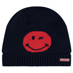 Knit cap with ©Smiley motif